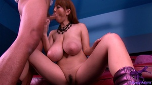 Busty red asian bitch