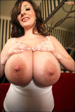 Cute brunette tight-white top