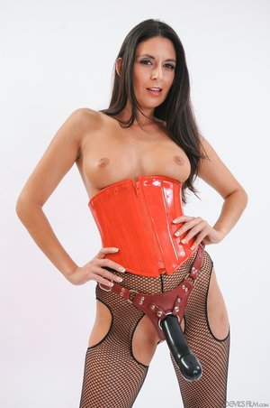 Busty brunette latex corset