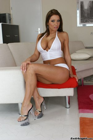 Milf poses tight white