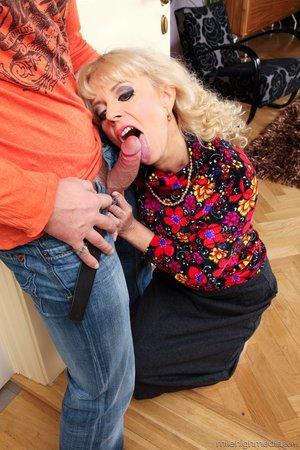 Horny blonde milf loves