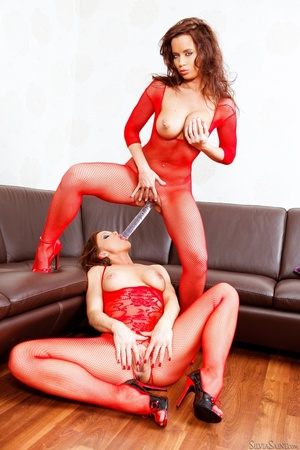 Redhead brunette matching crotchless
