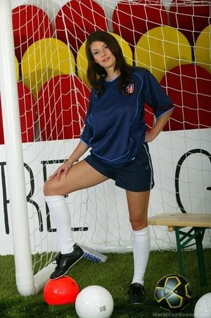 Atletico-loving brunette white socks