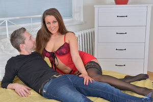 Hot brunette wife black