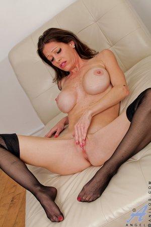 Lovely brunette black lingerie