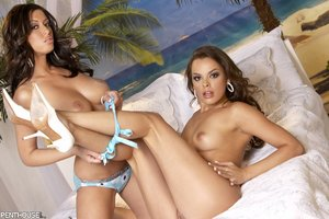 Gorgeous babes display their banging bodies in blue lingerie before they take off their bras and show their luscious boobs then peels down their panties and expose their sweet pussies in different poses on a blue and white bed.