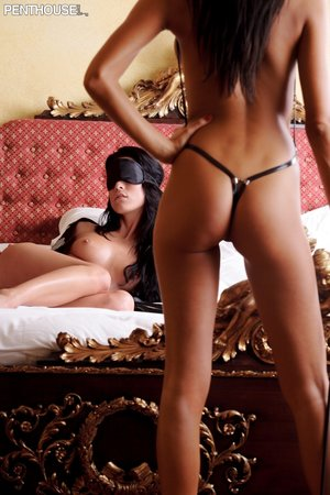 Lucious hotties teases with their alluring bodies in different poses in black lingerie before they get naked and bare their indulging tits and luscious pussies.