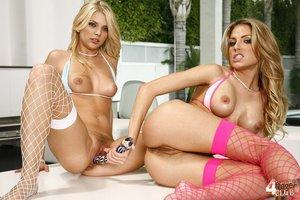 Gorgeous blonde lesbian models