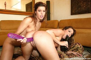 Wet haired latinas with round ample fake tits take turns riding symbian and using double dildo