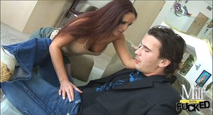 Sexy big-titted lassie with long red hair is fucking her boyfriend