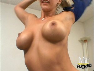 Sexy big titted lassie with long blonde hair is fucking hard