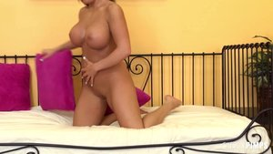 Brunette babe gets her pussy hammered deep by cock after using a toy