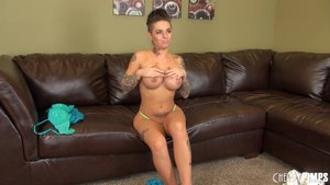 Punk rock bitch with tattoos gets naked and fucks herself with her favorite toy
