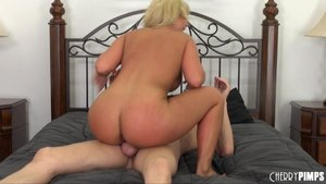 Thick blonde whore with long hair fucks a horny stud multiple ways in bed