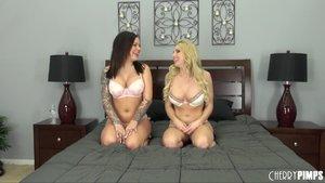 Blonde brunette lesbian babes