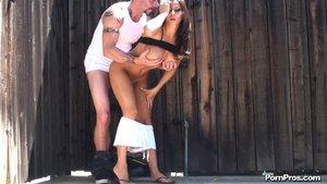 Lovely brunette receives a hot cum in her wet pink slit
