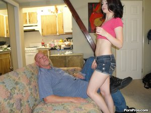 Perby old man gets a chance to taste a young wet pussy