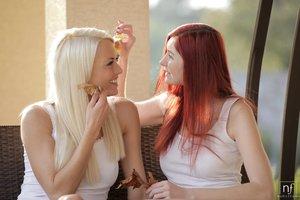 European blonde redhead lesbian