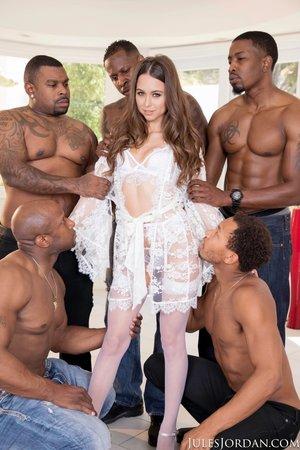 Petite interracial anal gangbang