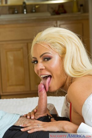 Latina blonde red stockings