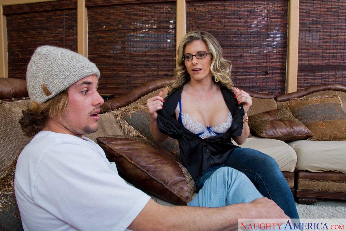 Blonde mom in glasses sucks hard cock amp gets fucked good 8