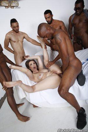 Missionary interracial anal gangbang