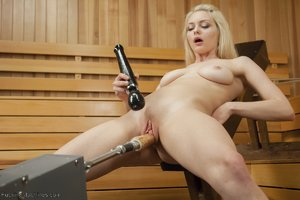 Blonde dildo fuck machine