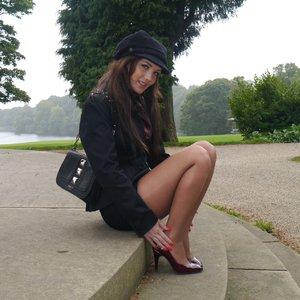 Stunning high heels short skirt
