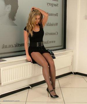 Blonde beautiful stockings