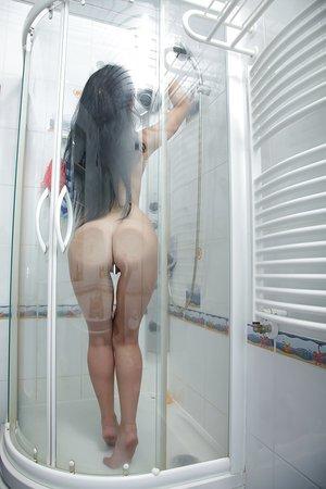 Slim shower masturbation