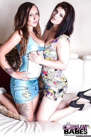 Lesbian cosplay masturbation